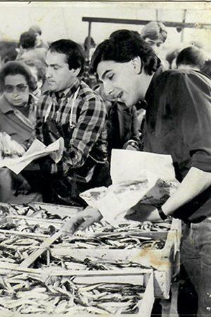 I fratelli Forti al banco del mercato del pesce